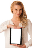 Beautiful young caucasian woman holding a tablet in her hand iso Royalty Free Stock Image