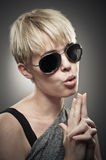 Beautiful Young Caucasian Woman Wearing Aviator Sunglasses And B Stock Images