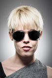 Beautiful Young Caucasian Woman Wearing Aviator Sunglasses Stock Images