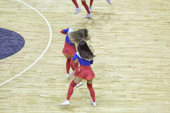 Beautiful young cheerleaders bright original show team support. Stock Photo