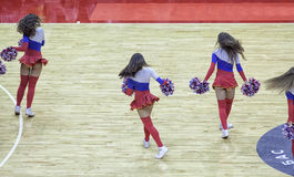 Beautiful young cheerleaders bright original show team support. Royalty Free Stock Images