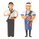 Beautiful young chef decorating delicious character vector. Stock Photography