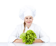 Beautiful young chef woman prepare and decorating tasty food veg Royalty Free Stock Photography