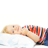 Beautiful young child waking up Royalty Free Stock Photos