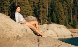 Beautiful Young Chinese Woman in Bikini Royalty Free Stock Images