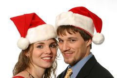 Beautiful young Christmas couple Stock Photography