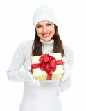 Beautiful young Christmas girl with gift. Stock Image