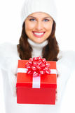 Beautiful young Christmas girl with gift. Royalty Free Stock Photography