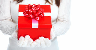 Beautiful young Christmas girl with gift. Stock Image