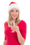 Beautiful young christmas woman with glass of champagne Royalty Free Stock Image
