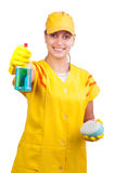 Beautiful young cleaning lady Stock Image