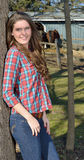 Beautiful young country girl on farm Stock Photo