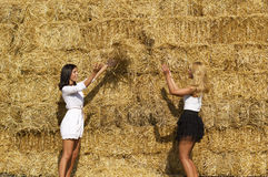 Beautiful young country girls playing Royalty Free Stock Photo