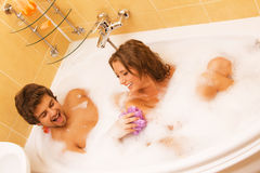 Beautiful young couple in a bath Royalty Free Stock Photo