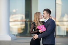Beautiful young couple,in a big city Royalty Free Stock Photography