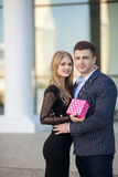Beautiful young couple,in a big city Royalty Free Stock Photos