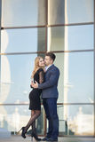 Beautiful young couple,in a big city Stock Photography