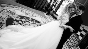Beautiful young couple, the bride and groom. Luxurious interior. Black  white photo Royalty Free Stock Photos