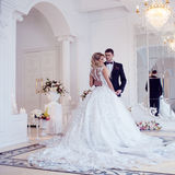 Beautiful young couple, the bride and groom. Luxurious light interior Royalty Free Stock Photos