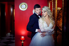 Beautiful young couple, the bride and groom. Luxurious red interior. Royalty Free Stock Photos