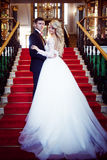 Beautiful young couple, the bride and groom standing on the stairs. Luxurious interior stock photos