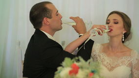 Beautiful young couple, charming bride and lovely groom, drink champagne after their wedding stock video