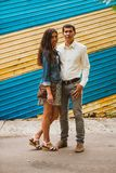 Beautiful young couple on the city background Stock Images