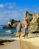 Beautiful young couple on the coast Royalty Free Stock Images