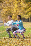 Beautiful young couple doing squats together in the park. Autumn environment Royalty Free Stock Photo