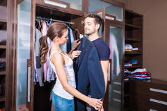 Beautiful young couple in the dressing room Royalty Free Stock Images