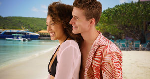 Beautiful young couple enjoying beach together on Virgin Islands. stock image