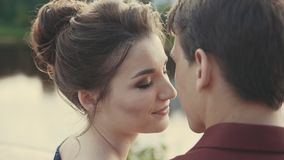 Beautiful young couple enjoying intimate moment. Sensual moment of love stock footage