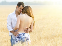 Beautiful young couple in field Royalty Free Stock Image