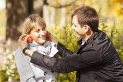 Beautiful young couple having fun Stock Images