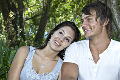 A Beautiful young couple having fun outdoors Stock Photo