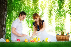 Beautiful Young Couple Having Picnic in Countryside. Happy Famil Stock Image
