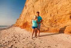 Beautiful young couple hugging on beach Royalty Free Stock Image