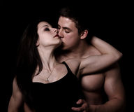 Beautiful young couple hugging and kissing Stock Photo