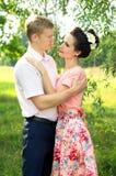 Beautiful young couple hugging stock image