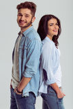 Beautiful young couple in jeans Royalty Free Stock Images