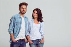 Beautiful young couple in jeans Stock Photo