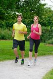 Beautiful young couple jogging in park Royalty Free Stock Image