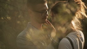 A beautiful young couple kiss in the forest. A beautiful young couple kiss and hug in a summer park near trees stock footage