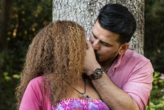 Beautiful young couple kissing in the park stock photography