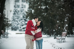 Beautiful young couple kissing in the park Stock Photos