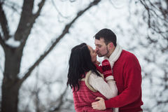 Beautiful young couple kissing in the park Royalty Free Stock Photography