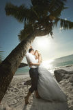 Beautiful young couple kissing on sunset, standing barefoot unde Stock Photos