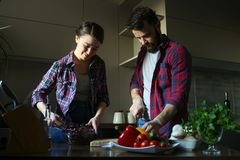 Beautiful young couple in kitchen at home while cooking healthy food. Husband cut cabbage. Wife mix salad. Scene from family life. Horizontally framed shot stock photography