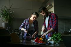 Beautiful young couple in kitchen at home while cooking healthy food. Husband cut cabbage. Wife mix salad. Scene from family life. Horizontally framed shot royalty free stock photos