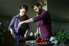 Beautiful young couple in kitchen at home while cooking healthy food. Wife mix salad. Husband salting salad. Scene from family. Life. Horizontally framed shot royalty free stock photography